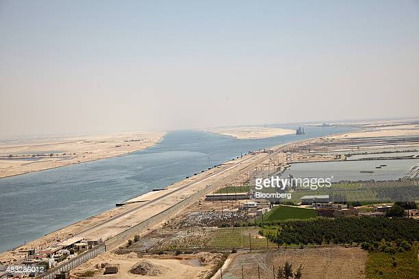 The two shipping channels of the Suez Canal operated by the Suez Canal Authority show the old left and new sections right in Ismailia Egypt on...