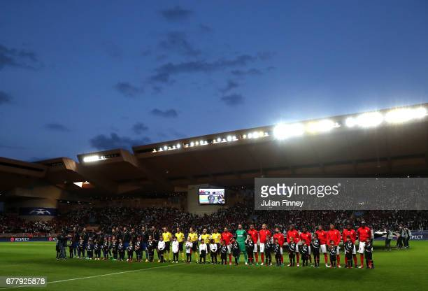The two sides line up prior to the UEFA Champions League Semi Final first leg match between AS Monaco v Juventus at Stade Louis II on May 3 2017 in...