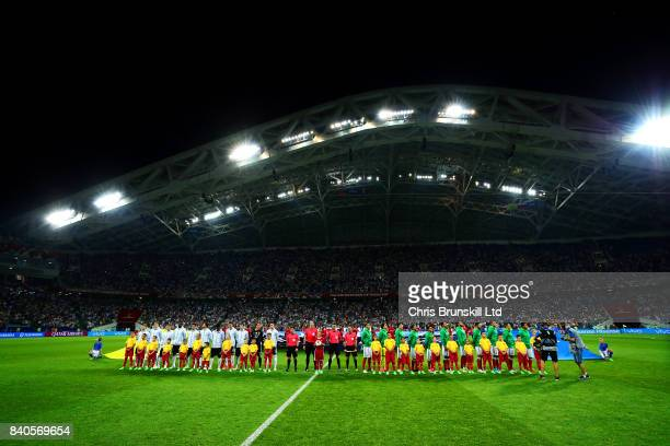 The two teams line up ahead of the FIFA Confederations Cup Russia 2017 SemiFinal match between Germany and Mexico at Fisht Olympic Stadium on June 29...