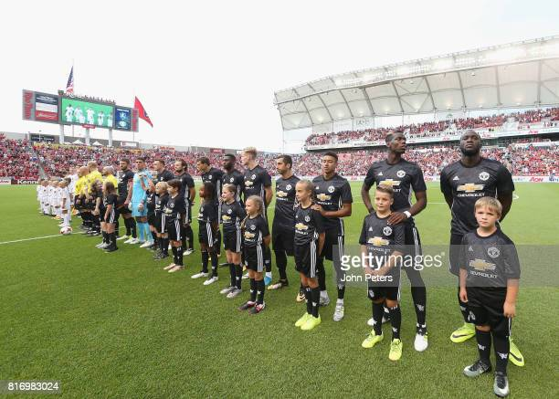 The two teams line up ahead of the preseason friendly match between Real Salt Lake and Manchester United at Rio Tinto Stadium on July 17 2017 in...