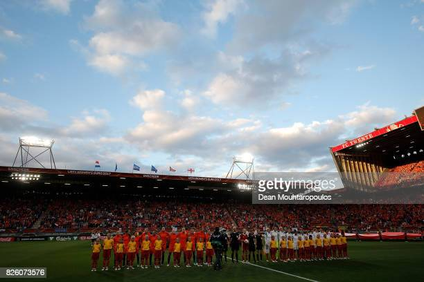 The two teams line up ahead of the UEFA Women's Euro 2017 Semi Final match between Netherlands and England at De Grolsch Veste Stadium on August 3...