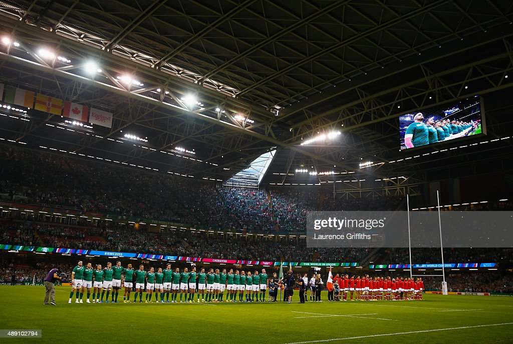 The two teams line up for the national anthems ahead of the 2015 Rugby World Cup Pool D match between Ireland and Canada at the Millennium Stadium on September 19, 2015 in Cardiff, United Kingdom.