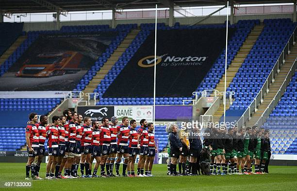 The two teams observe a minute's silence for the victims of the Paris attacks ahead of the European Rugby Challenge Cup match between London Irish...