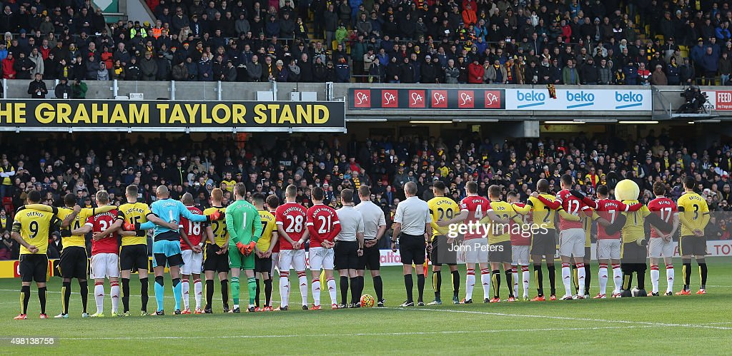 The two teams take part in a minute's silence in memory of the victims of the Paris terrorist attacks ahead of the Barclays Premier League match between Watford and Manchester United at Vicarage Road on November 21, 2015 in Watford, England.