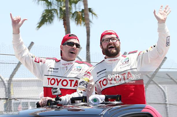 The two winners are comedian/actor Adam Carolla in the professional driver category and television host/actor Rutledge Wood in the celebrity category...
