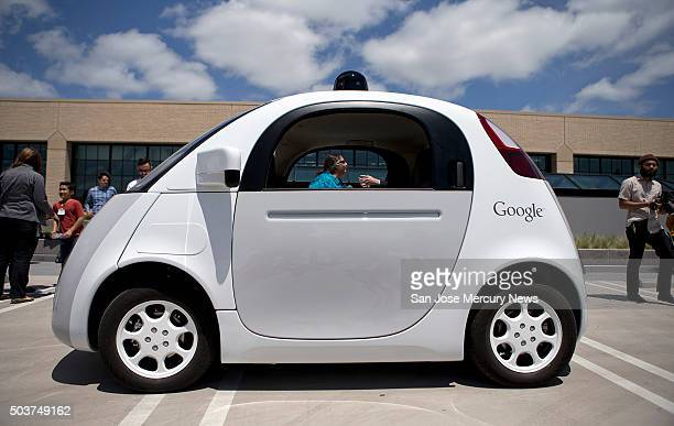 The twoseater prototype of Google's selfdriving car is ready for demonstration at Google on May 13 2015 in Mountain View Calif