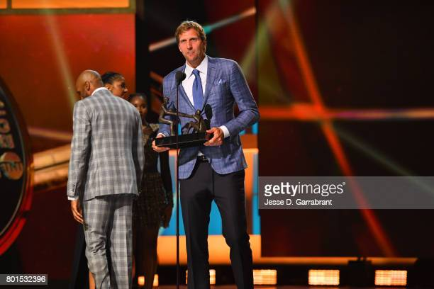 The TwymanStokes Teammate of the Year Award goes to Dirk Nowitzki of the Dallas Mavericks during the 2017 NBA Awards Show on June 26 2017 at...