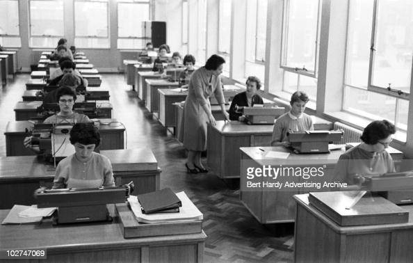 The typing pool at the offices of the retailer Marks and Spencer Baker Street London 7th April 1959