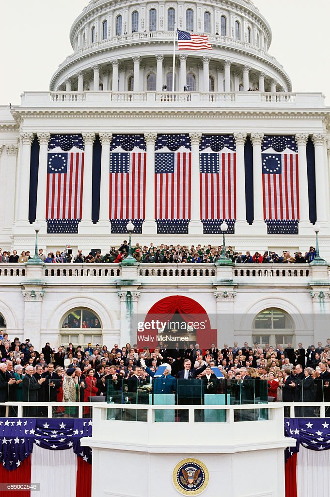 The U S Capitol decorated with flags and bunting during the inauguration of President George Bush