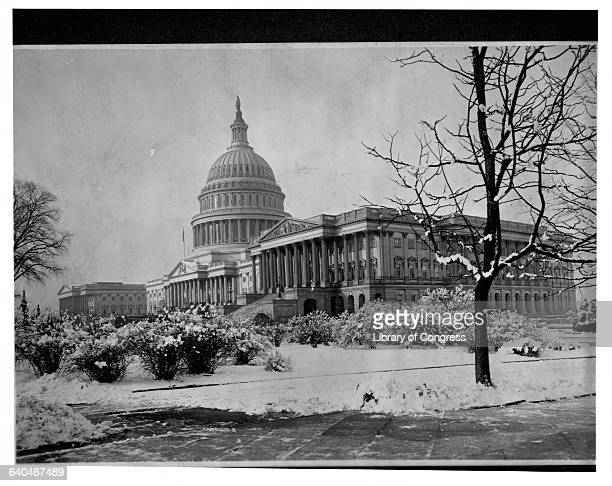 The U S Capitol in Washington D C during the winter 1905