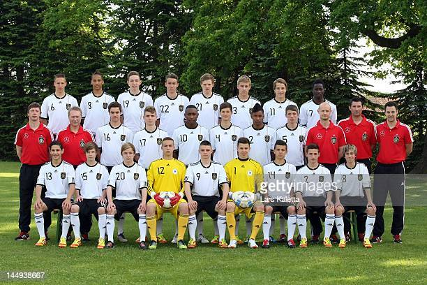 The U16 Germany team line up during the German Football Association U16 team presentation on May 21 2012 in Celle Germany