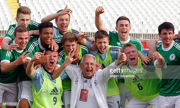 The U17 team of Germany celebrates after the UEFA Under17 Elite Round between Serbia and Germany at Stadion Karadjordje on March 31 2014 in Novi Sad...