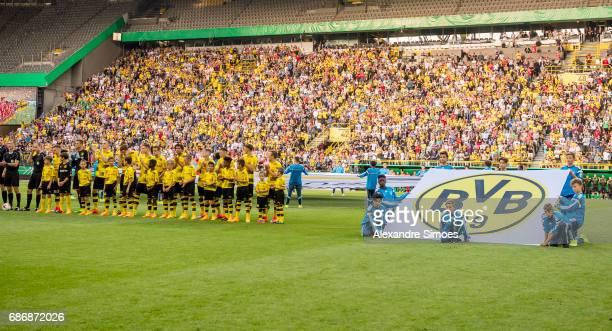 The U19 team of Borussia Dortmund in action during the U19 German Championship Final match between U19 Borussia Dortmund and U19 Bayern Muenchen at...