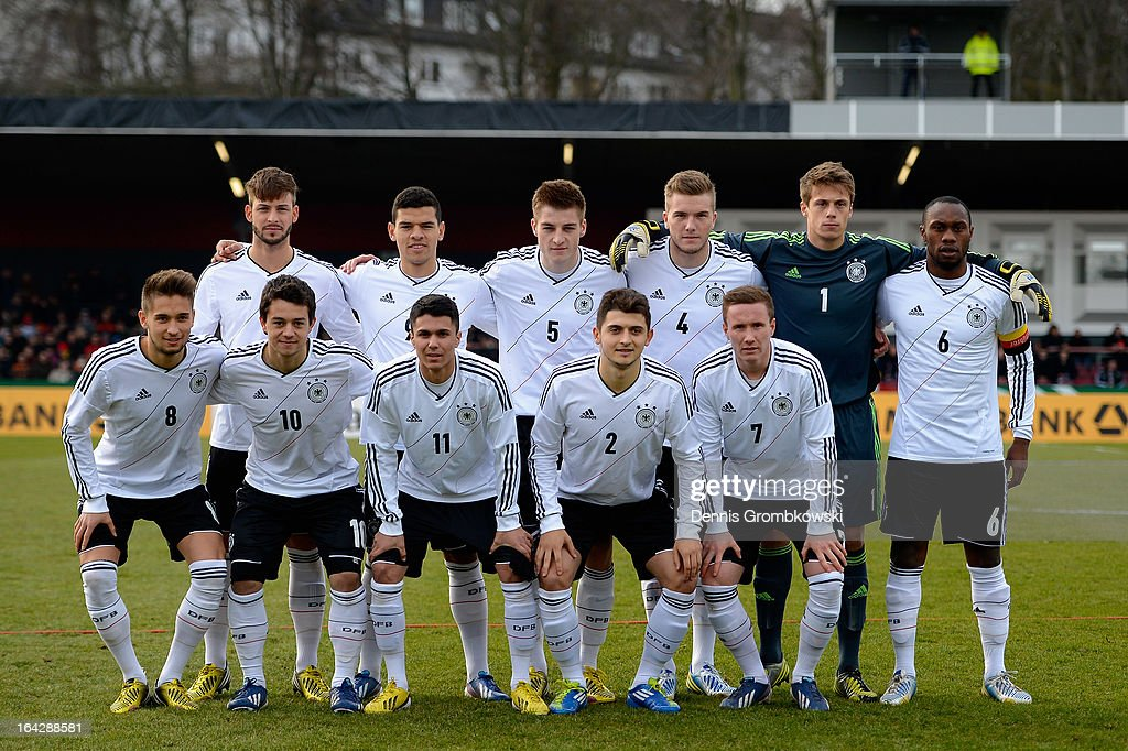 The U20 team of Germany poses prior to the International Friendly match between U20 Germany and U20 Switzerland on March 22, 2013 in Cologne, Germany.
