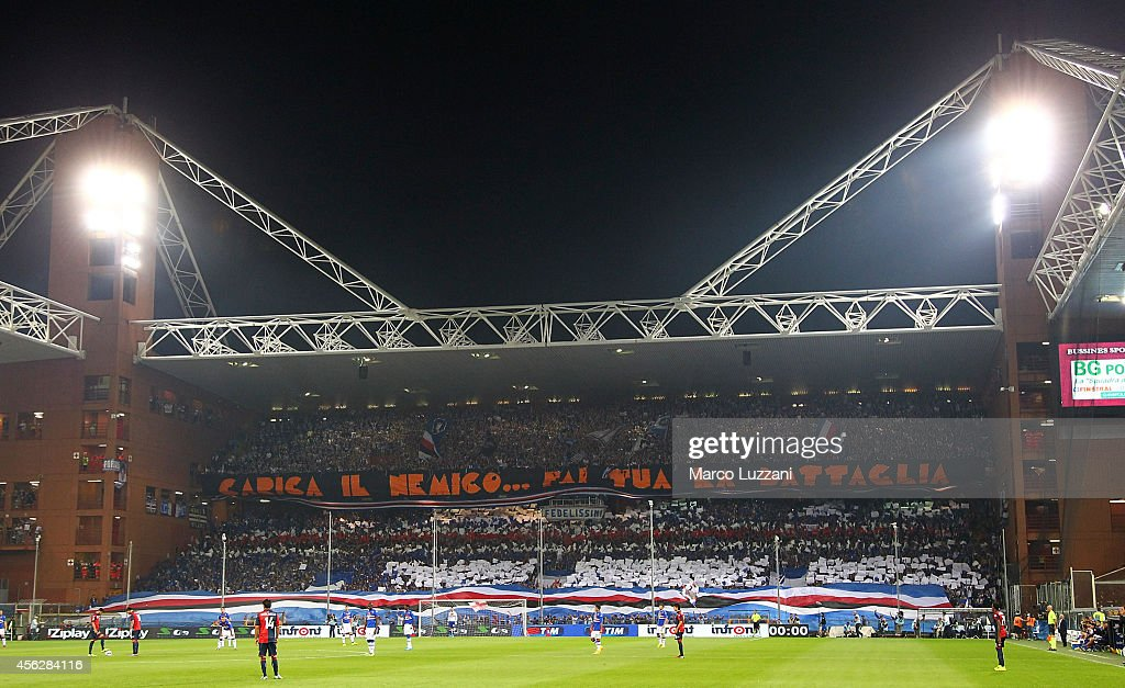 The UC Sampdoria fans show their support before the Serie A match between Genoa CFC and UC Sampdoria at Stadio Luigi Ferraris on September 28 2014 in...