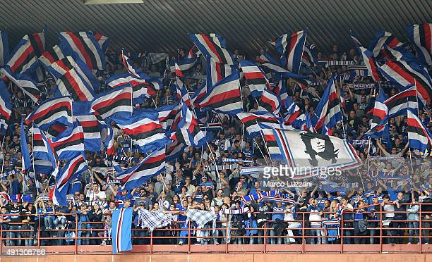 The UC Sampdoria fans show their support before the Serie A match between UC Sampdoria and FC Internazionale Milano at Stadio Luigi Ferraris on...