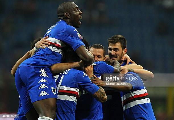 The UC Sampdoria players celebrate his teammates goal during the Serie A match between AC Milan and UC Sampdoria at Stadio Giuseppe Meazza on April...