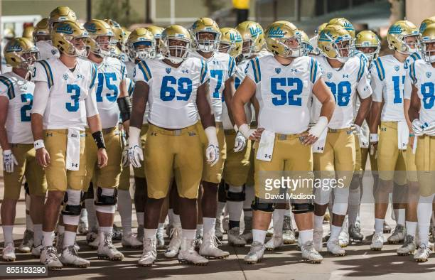 The UCLA Bruin football team waits to enter the field before the second half of an NCAA Pac12 football game between the UCLA Bruins and the Stanford...