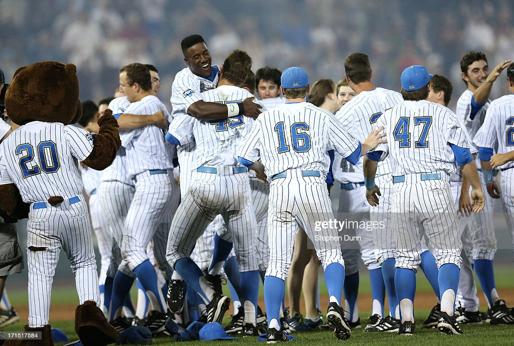 The UCLA Bruins celebrate after defeating the Mississippi State Bulldogs during game two of the College World Series Finals on June 25, 2013 at TD Ameritrade Park in Omaha, Nebraska. UCLA won 8-0 to take the series two games to none and win the College World Series Championship.
