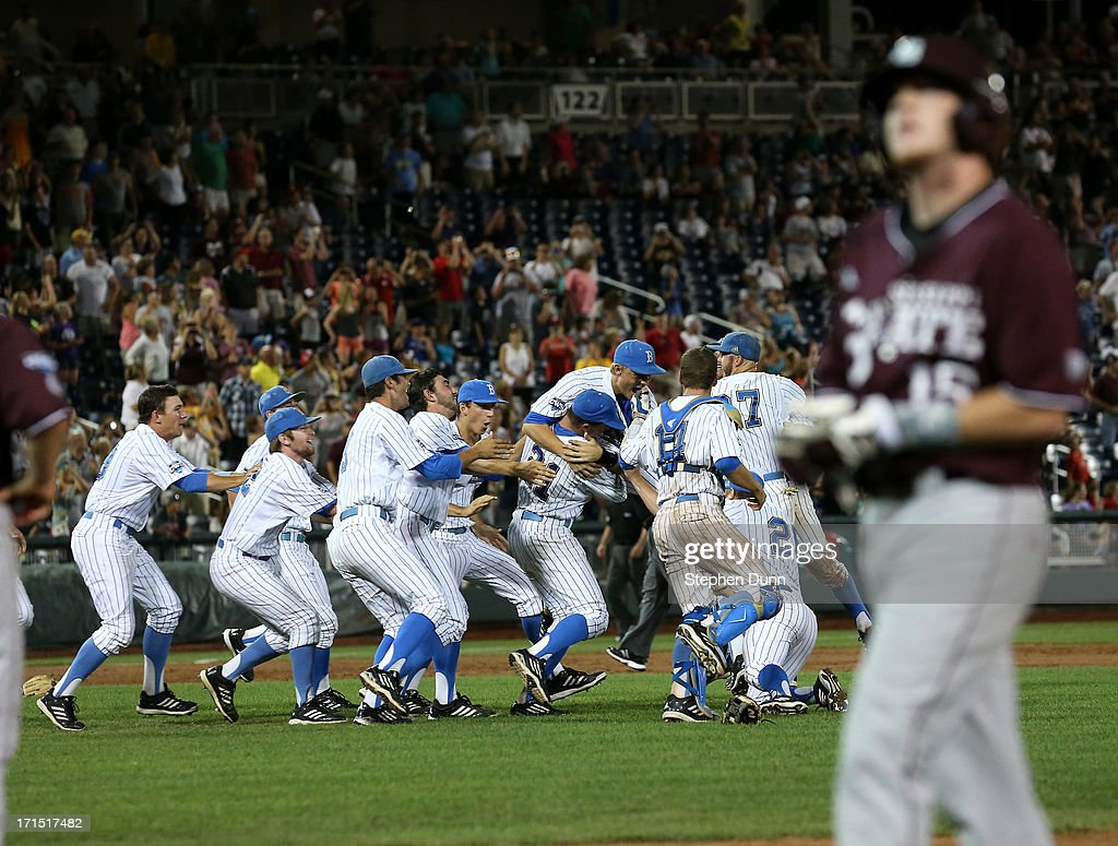 The UCLA Bruins celebrate after getting the Matthew Britton #15 of the Mississippi State Bulldogs for the final out during game two of the College World Series Finals on June 25, 2013 at TD Ameritrade Park in Omaha, Nebraska. UCLA won 8-0 to take the series two games to none and win the College World Series Championship.