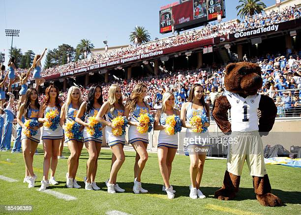 The UCLA Bruins cheerleaders and mascot stand on the sidelines during their game against the Stanford Cardinal at Stanford Stadium on October 19 2013...