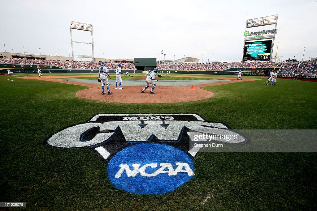 The UCLA Bruins take infield practice before playing the Mississippi State Bulldogs during game two of the College World Series Finals on June 25, 2013 at TD Ameritrade Park in Omaha, Nebraska.