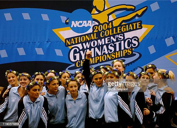 The UCLA Bruins Women's Gymnastics team celebrates it's first place finish at the 2004 NCAA Championship Team Finals at Pauley Pavilion in Westwood...