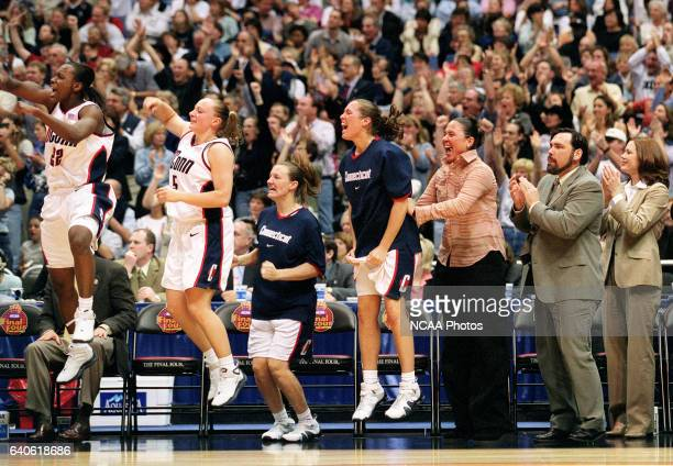 The UCONN bench erupts during a scoring run against the University of Oklahoma during the Division 1 Women's Basketball Championship held at the...