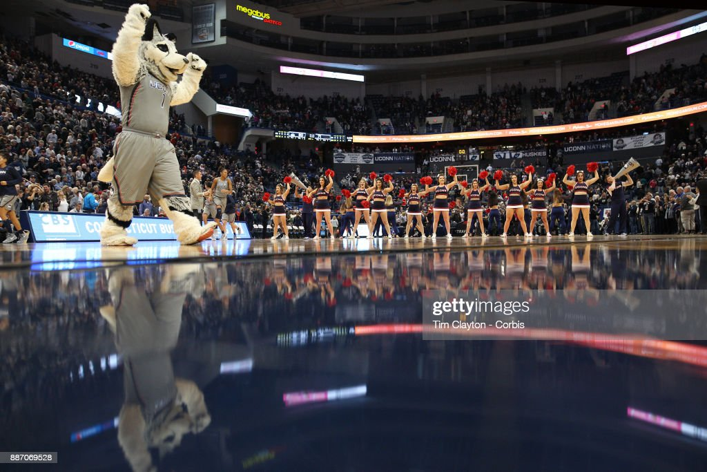 The UConn mascot and cheerleaders during the the UConn Huskies Vs Notre Dame, NCAA Women's Basketball game at the XL Center, Hartford, Connecticut. December 3, 2017
