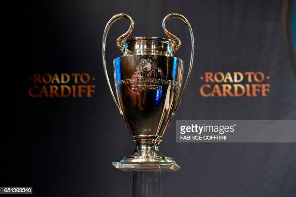 The UEFA Champions League cup is pictured prior to the ceremony for the quarterfinal draw of the quarterfinal draw for the UEFA Champions League...