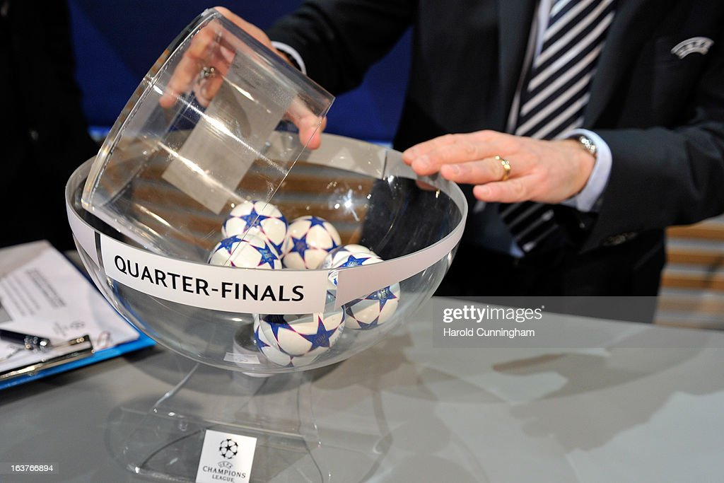 The UEFA Champions League draw balls arrive in the draw room ahead of the UEFA Champions League quarter finals draw at the UEFA headquarters on March 15, 2013 in Nyon, Switzerland.
