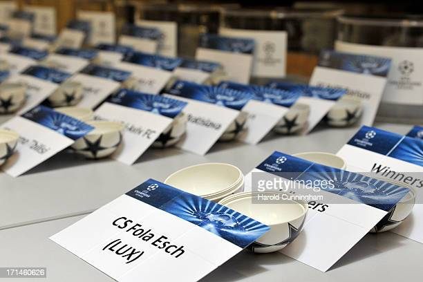 The UEFA Champions League qualifying round balls are prepared backstage prior to the UEFA Champions League Q1 and Q2 qualifying rounds draw at the...