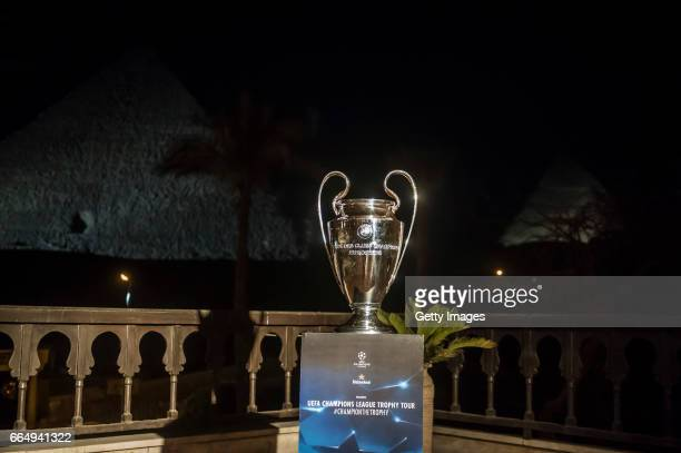 The UEFA champions league trophy displayed in front of Great Pyramids during a tour on April 5 2017 in Cairo Egypt