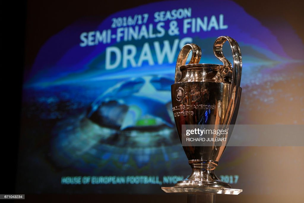 TOPSHOT - The UEFA Champion's league trophy is displayed ahead of the draw for the football competition's semi-finals, on April 21, 2017 in Nyon. / AFP PHOTO / Richard JUILLIART