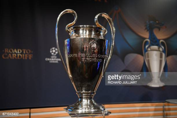 The UEFA Champion's league trophy is displayed ahead of the draw for the football competition's semifinals on April 21 2017 in Nyon / AFP PHOTO /...