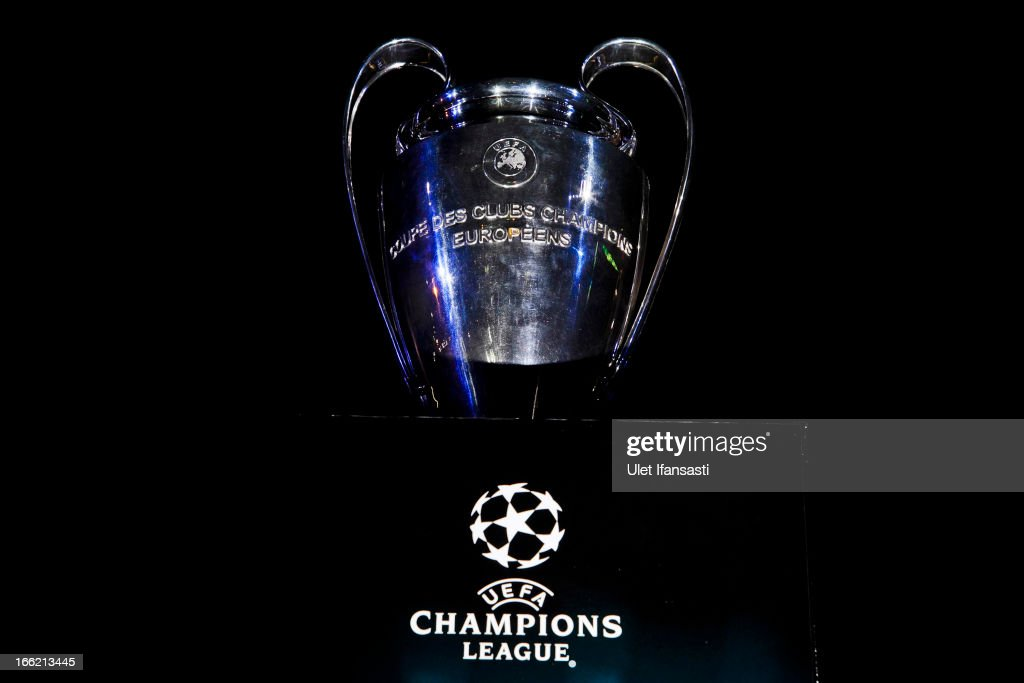 The UEFA Champions League trophy is displayed during the trophy unveiling as part of the UEFA Champions League Trophy Tour 2013 presented by Heineken at Gandaria City Shopping Mall on April 10, 2013 in Jakarta, Indonesia.