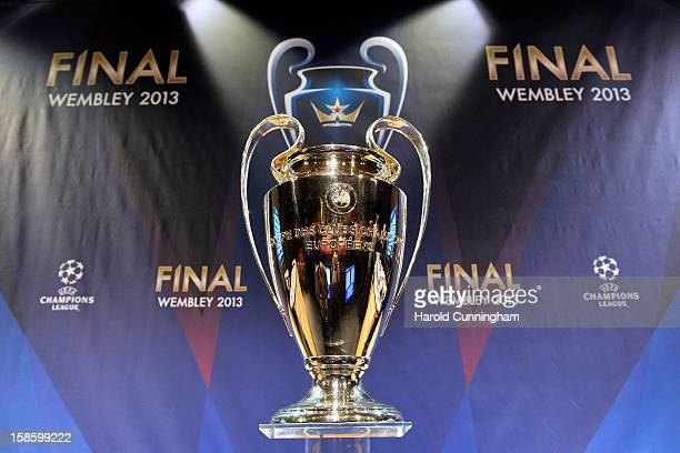 The UEFA Champions League trophy is displayed during the UEFA Champions League round of 16 draw at the UEFA headquarters on December 20 2012 in Nyon...