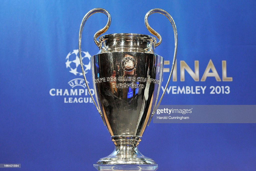 The UEFA Champions League trophy is displayed during the UEFA Champions League semi-final and final draws at the UEFA headquarters on April 12, 2013 in Nyon, Switzerland.
