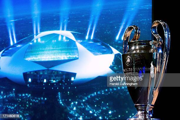 The UEFA Champions League trophy is displayed in the draw room ahead to the UEFA CChampions League Q1 and Q2 qualifying rounds draw at the UEFA...