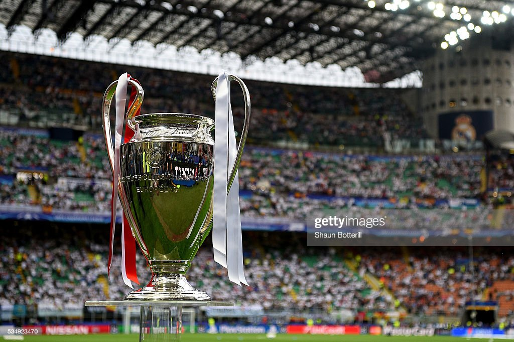 The UEFA Champions League trophy is displayed prior to the UEFA Champions League Final match between Real Madrid and Club Atletico de Madrid at Stadio Giuseppe Meazza on May 28, 2016 in Milan, Italy.