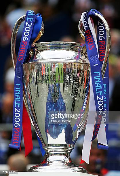 The UEFA Champions League Trophy is placed on display before the final between Arsenal and Barcelona at the Stade de France on May 17 2006 in Paris...