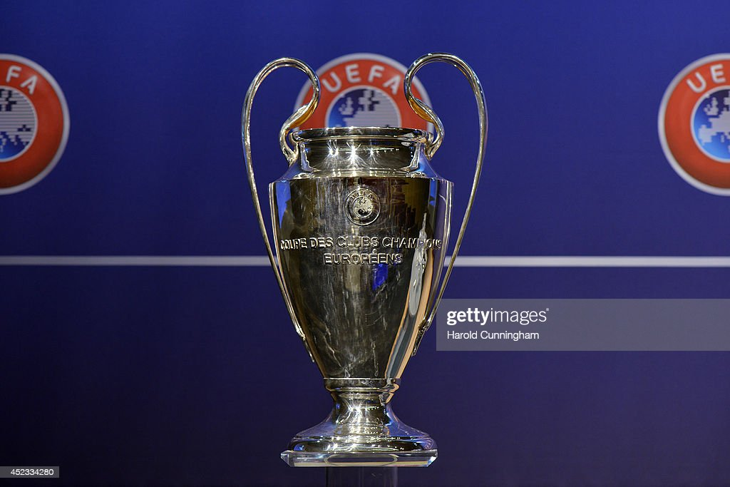The UEFA Champions League trophy is prepared for the UEFA 2014/15 Champions League third qualifying rounds draw at the UEFA headquarters, The House of European Football, on July 18, 2014 in Nyon, Switzerland.