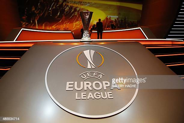 The UEFA Cup trophy is pictured during the draw for the UEFA Europa League football group stage 2015/16 on August 28 2015 in Monaco on August 28 2015...