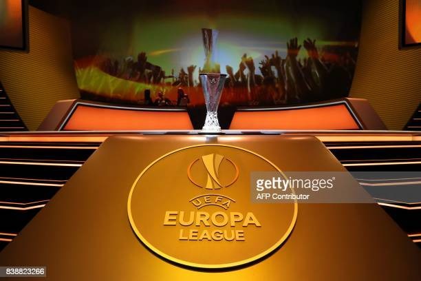 The UEFA Europa League Cup Trophy is displayed during the draw for the UEFA Europa League football group stage 2017/18 on August 25 2017 in Monaco /...
