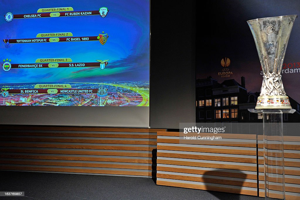 The UEFA Europa League draw results are displayed during the UEFA Europa League quarter finals draw at the UEFA headquarters on March 15, 2013 in Nyon, Switzerland.