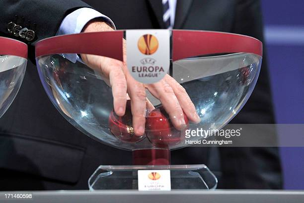 The UEFA Europa League Q1 qualifying round draw at the UEFA headquarters on June 24 2013 in Nyon Switzerland