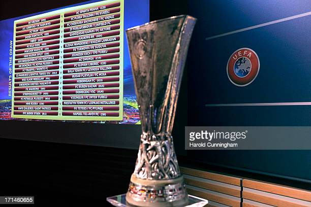 The UEFA Europa League Q2 qualifying round draw results are displayed at the UEFA headquarters on June 24 2013 in Nyon Switzerland