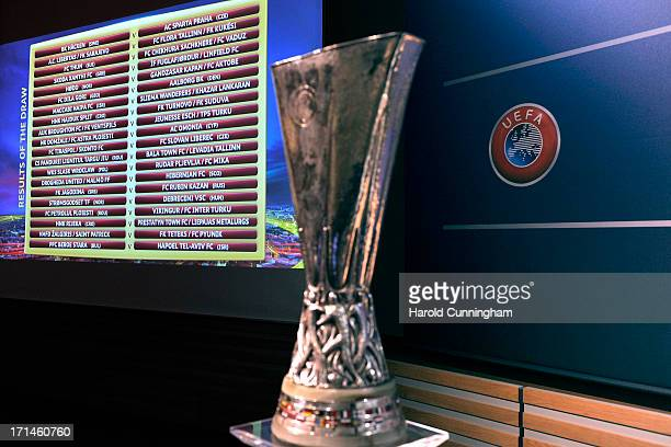The UEFA Europa League qualifying round draw results are seen at the UEFA headquarters on June 24 2013 in Nyon Switzerland