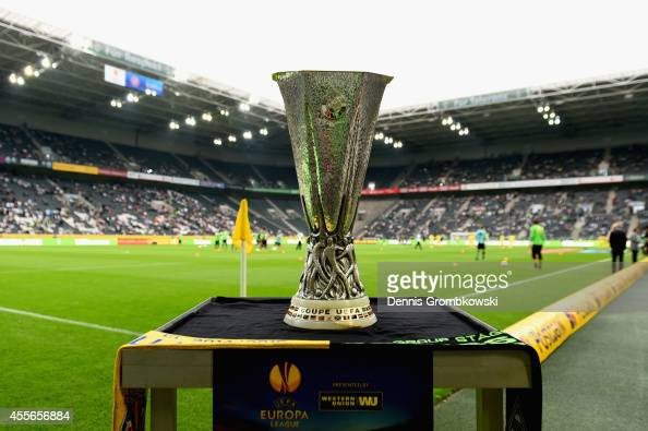 The UEFA Europa League trophy Coupe UEFA is seen prior to the UEFA Europa League Group A match between Borussia Moenchengladbach and Villareal CF at...