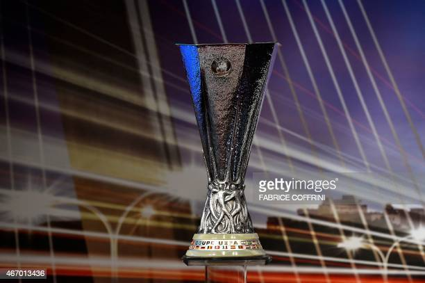The UEFA Europa League trophy is displayed ahead of the draw for the UEFA Europa League quarterfinal football matches at the UEFA headquarters in...